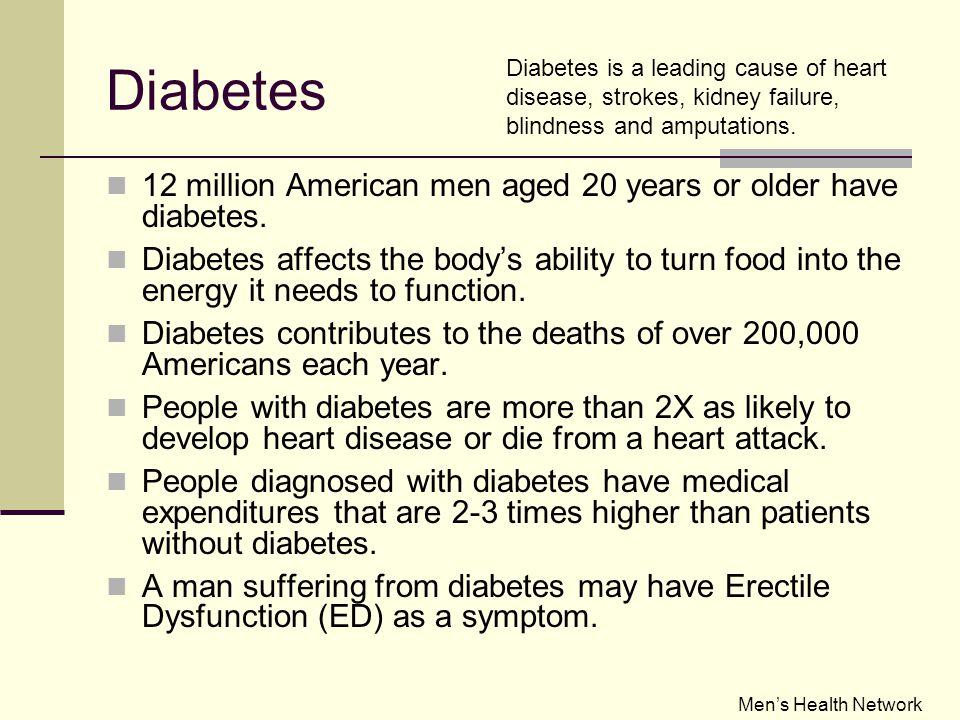 Diabetes 12 million American men aged 20 years or older have diabetes.
