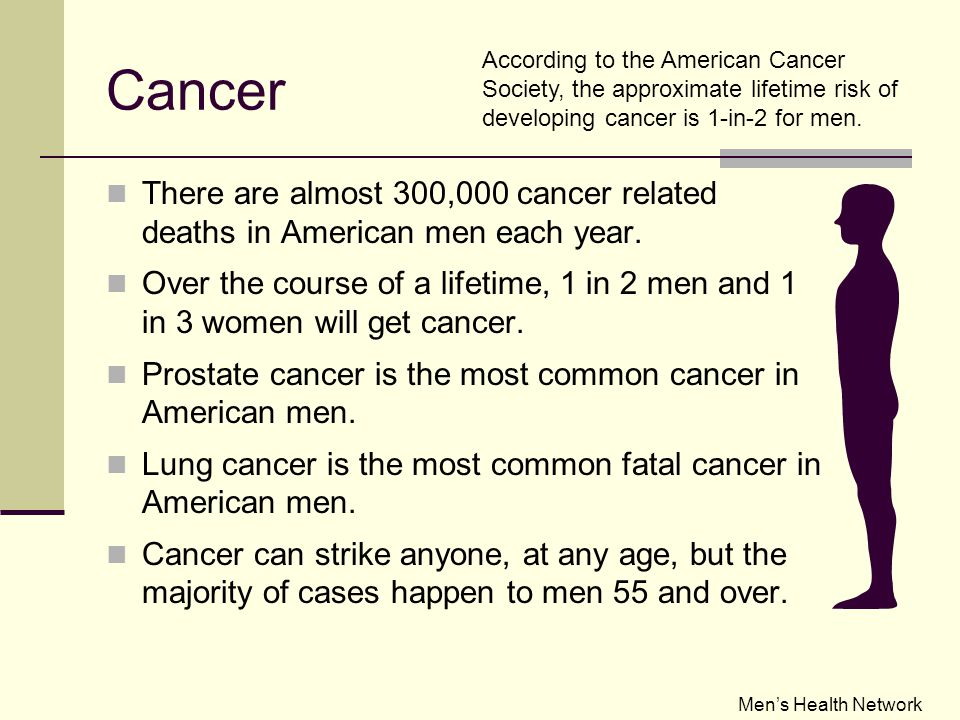 Cancer There are almost 300,000 cancer related deaths in American men each year.