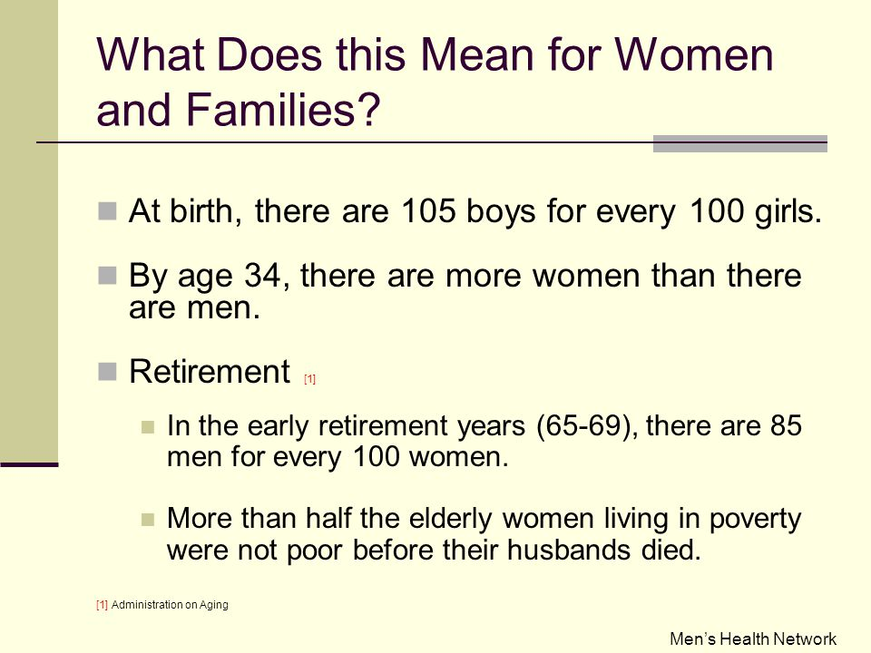 What Does this Mean for Women and Families. At birth, there are 105 boys for every 100 girls.