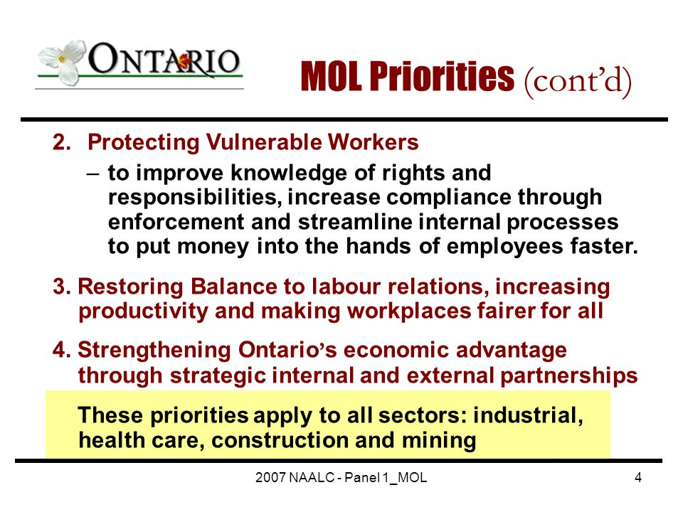 2007 NAALC - Panel 1_MOL4 2. Protecting Vulnerable Workers –to improve knowledge of rights and responsibilities, increase compliance through enforceme