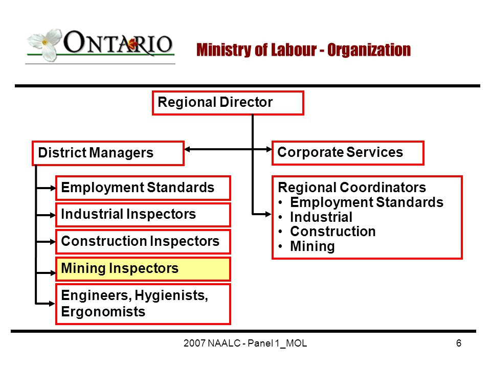 2007 NAALC - Panel 1_MOL6 Ministry of Labour - Organization Regional Director Corporate Services Regional Coordinators Employment Standards Industrial