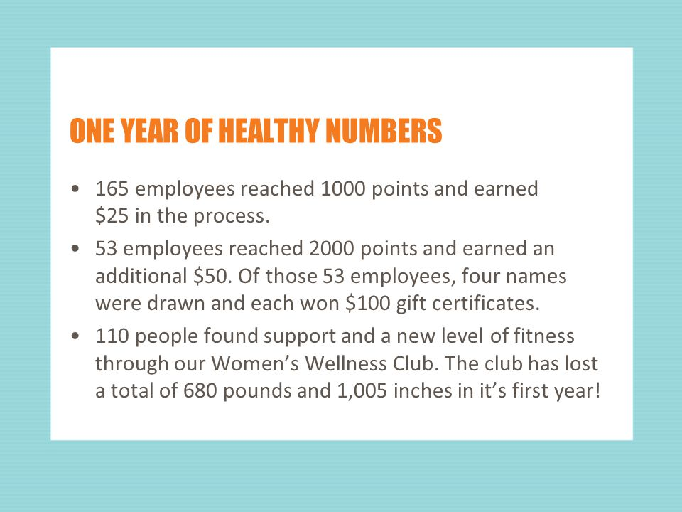 ONE YEAR OF HEALTHY NUMBERS 165 employees reached 1000 points and earned $25 in the process.