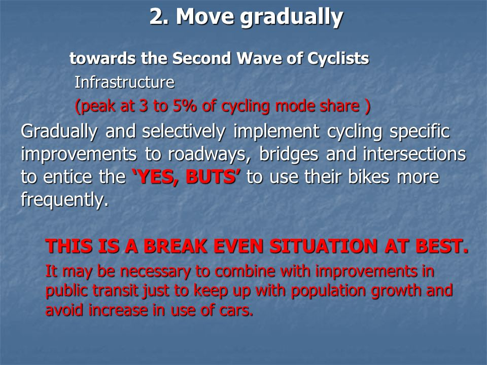 2. Move gradually towards the Second Wave of Cyclists Infrastructure Infrastructure (peak at 3 to 5% of cycling mode share ) (peak at 3 to 5% of cycli