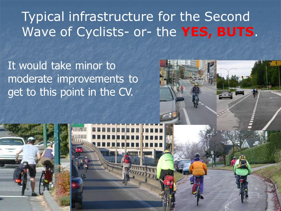Typical infrastructure for the Second Wave of Cyclists- or- the YES, BUTS. It would take minor to moderate improvements to get to this point in the CV