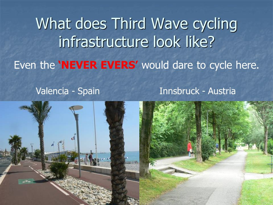 What does Third Wave cycling infrastructure look like? Valencia - SpainInnsbruck - Austria Even the 'NEVER EVERS' would dare to cycle here.