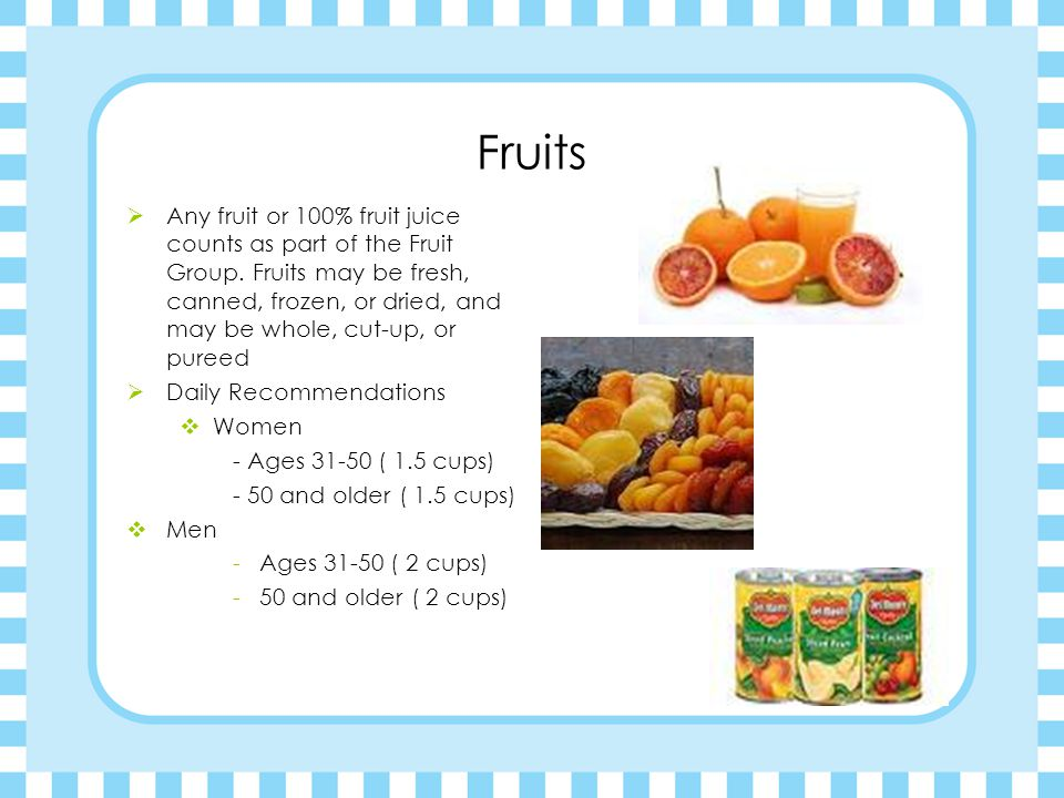 Vegetables  Any vegetable or 100% vegetable juice counts as a member of the Vegetable Group.