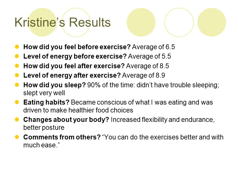 Kristine's Results How did you feel before exercise.