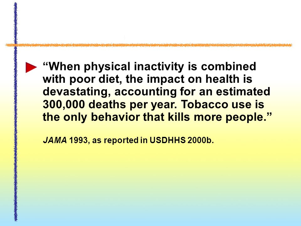 When physical inactivity is combined with poor diet, the impact on health is devastating, accounting for an estimated 300,000 deaths per year.