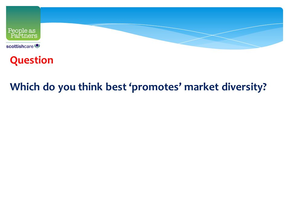 Question Which do you think best 'promotes' market diversity?