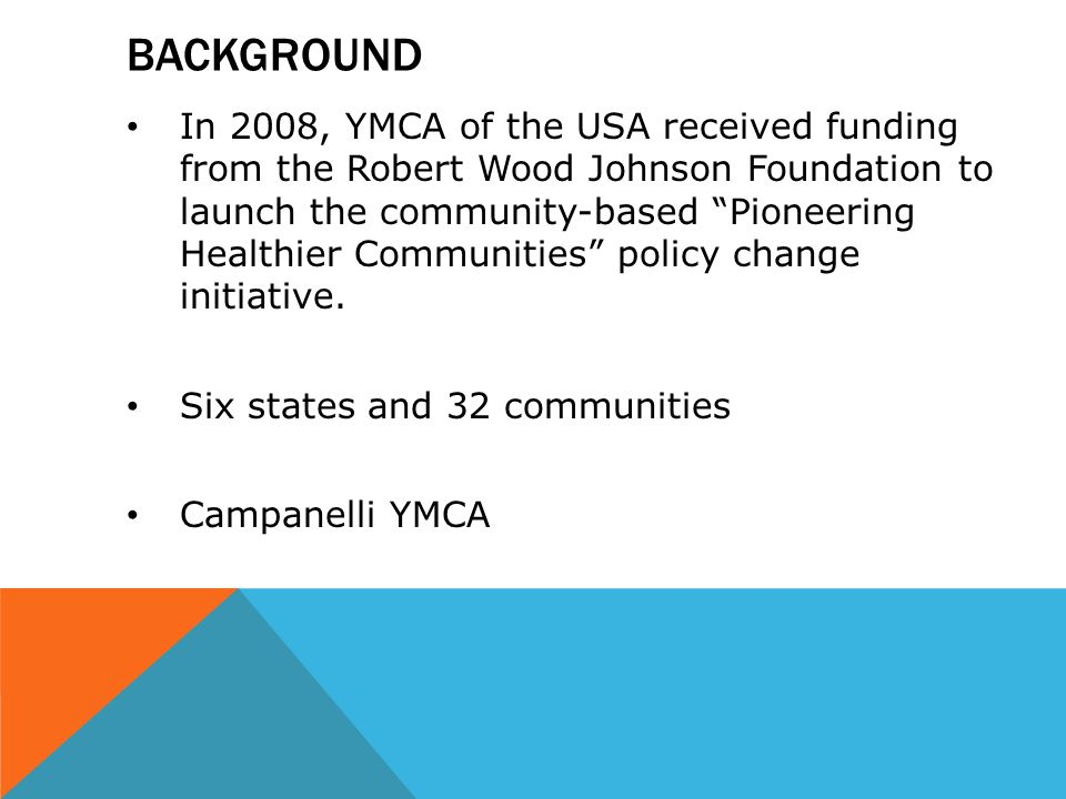 "BACKGROUND In 2008, YMCA of the USA received funding from the Robert Wood Johnson Foundation to launch the community-based ""Pioneering Healthier Commu"
