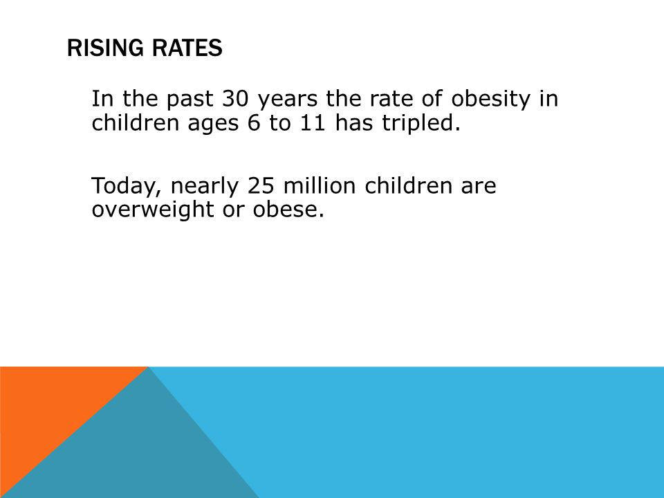 RISING RATES In the past 30 years the rate of obesity in children ages 6 to 11 has tripled. Today, nearly 25 million children are overweight or obese.