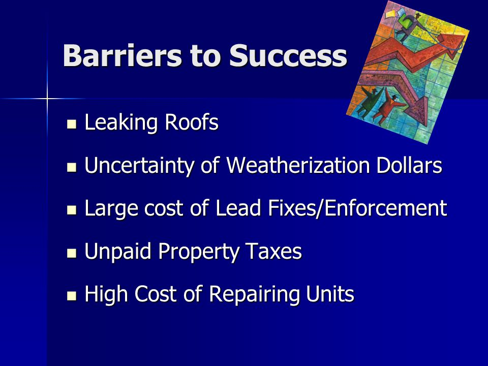 Barriers to Success Leaking Roofs Leaking Roofs Uncertainty of Weatherization Dollars Uncertainty of Weatherization Dollars Large cost of Lead Fixes/E