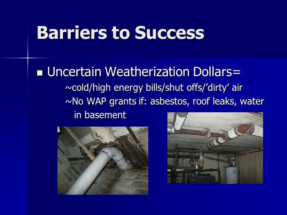 Barriers to Success Uncertain Weatherization Dollars= Uncertain Weatherization Dollars= ~cold/high energy bills/shut offs/'dirty' air ~No WAP grants if: asbestos, roof leaks, water in basement in basement