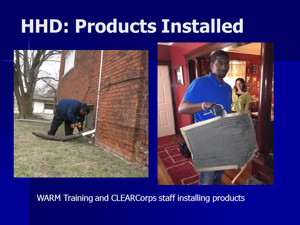 HHD: Products Installed WARM Training and CLEARCorps staff installing products