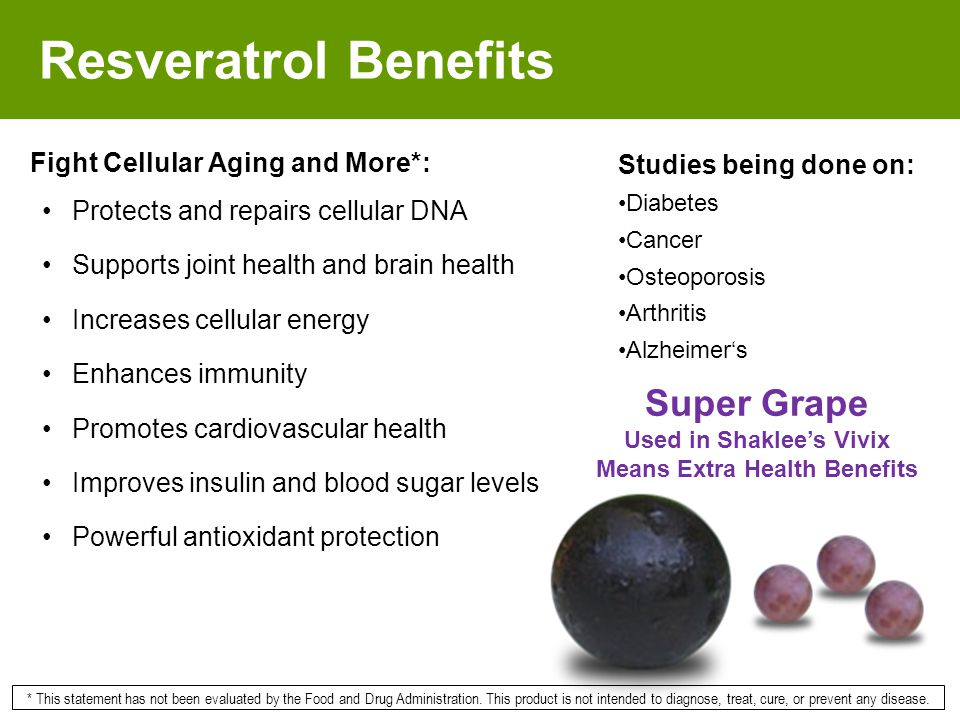 Resveratrol Benefits Fight Cellular Aging and More*: Protects and repairs cellular DNA Supports joint health and brain health Increases cellular energ