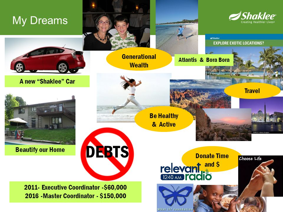 """Beautify our Home My Dreams A new """"Shaklee"""" Car Generational Wealth Donate Time and $ Be Healthy & Active DEBTS 2011- Executive Coordinator -$60,000 2"""