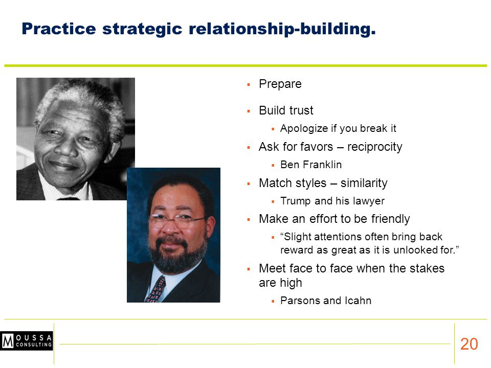 20 Practice strategic relationship-building.