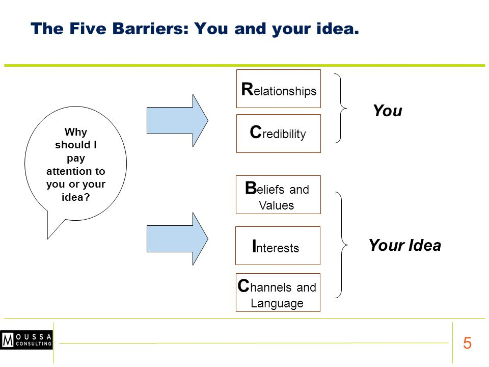 5 The Five Barriers: You and your idea.