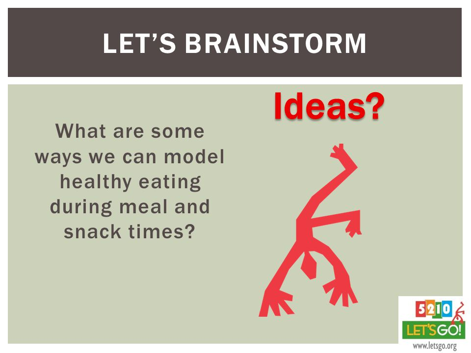LET'S BRAINSTORM What are some ways we can model healthy eating during meal and snack times? Ideas?