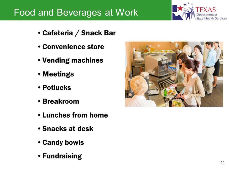 Food and Beverages at Work Cafeteria / Snack Bar Convenience store Vending machines Meetings Potlucks Breakroom Lunches from home Snacks at desk Candy bowls Fundraising 11