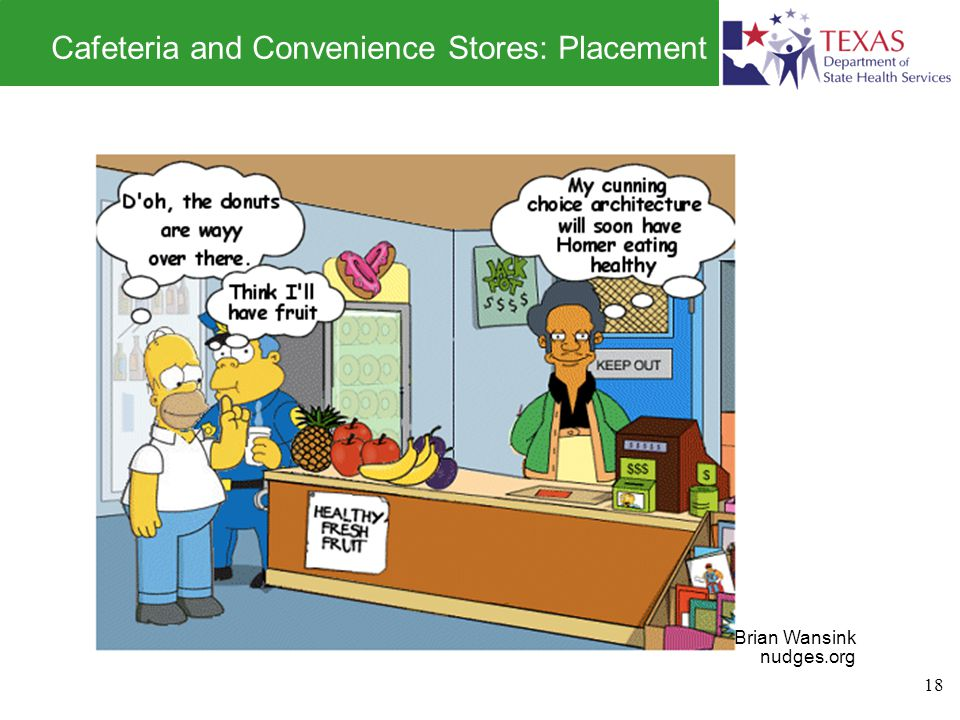 Cafeteria and Convenience Stores: Placement 18 Brian Wansink nudges.org