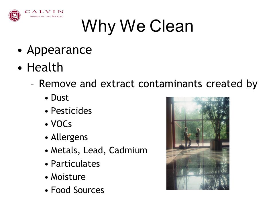 Why We Clean Appearance Health –Remove and extract contaminants created by Dust Pesticides VOCs Allergens Metals, Lead, Cadmium Particulates Moisture