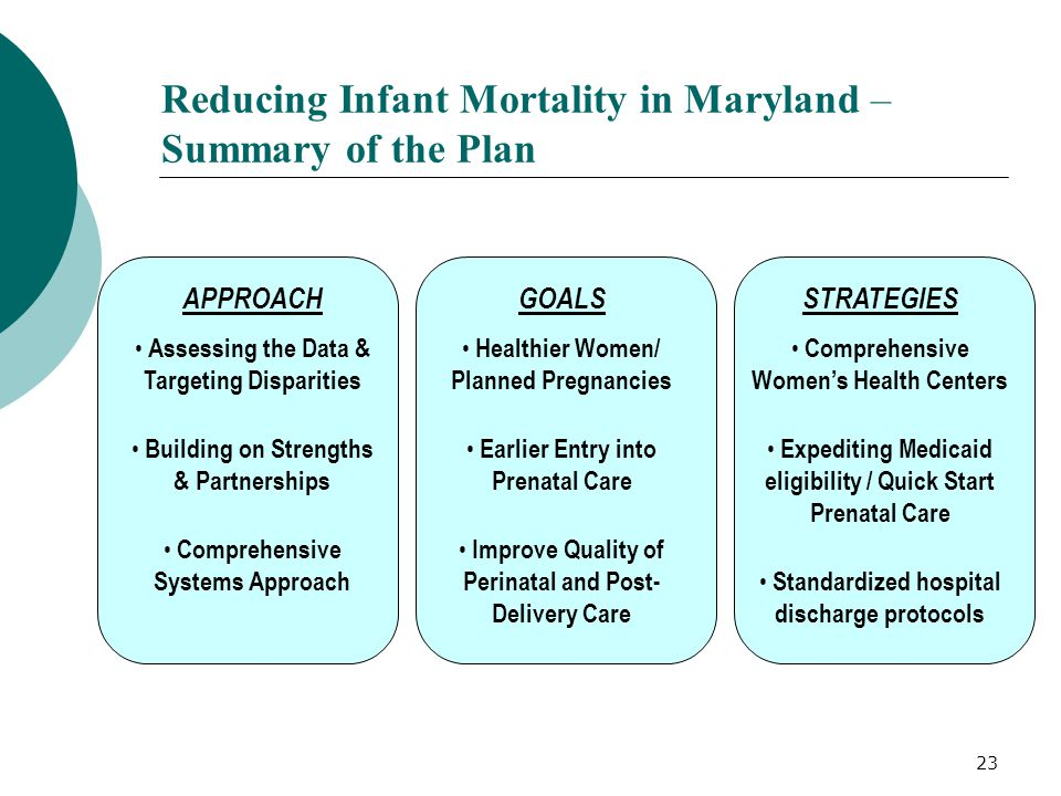 23 Reducing Infant Mortality in Maryland – Summary of the Plan APPROACH Assessing the Data & Targeting Disparities Building on Strengths & Partnership