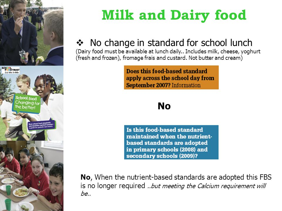 Milk and Dairy food  No change in standard for school lunch (Dairy food must be available at lunch daily..