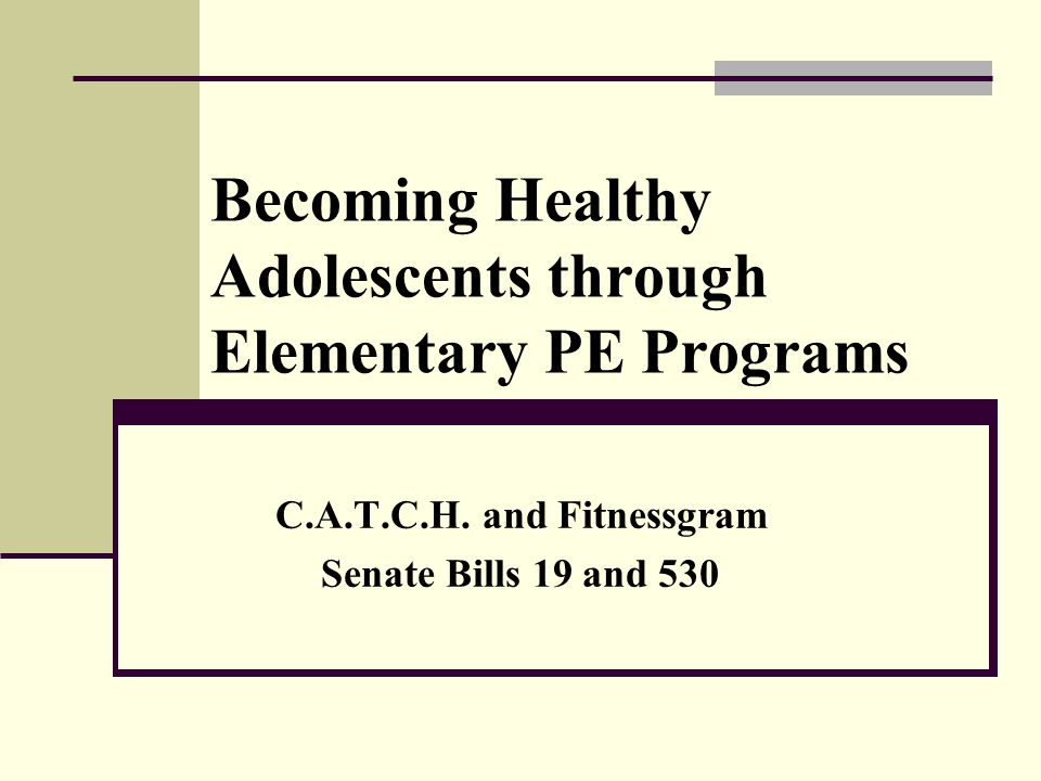 Becoming Healthy Adolescents through Elementary PE Programs C.A.T.C.H.