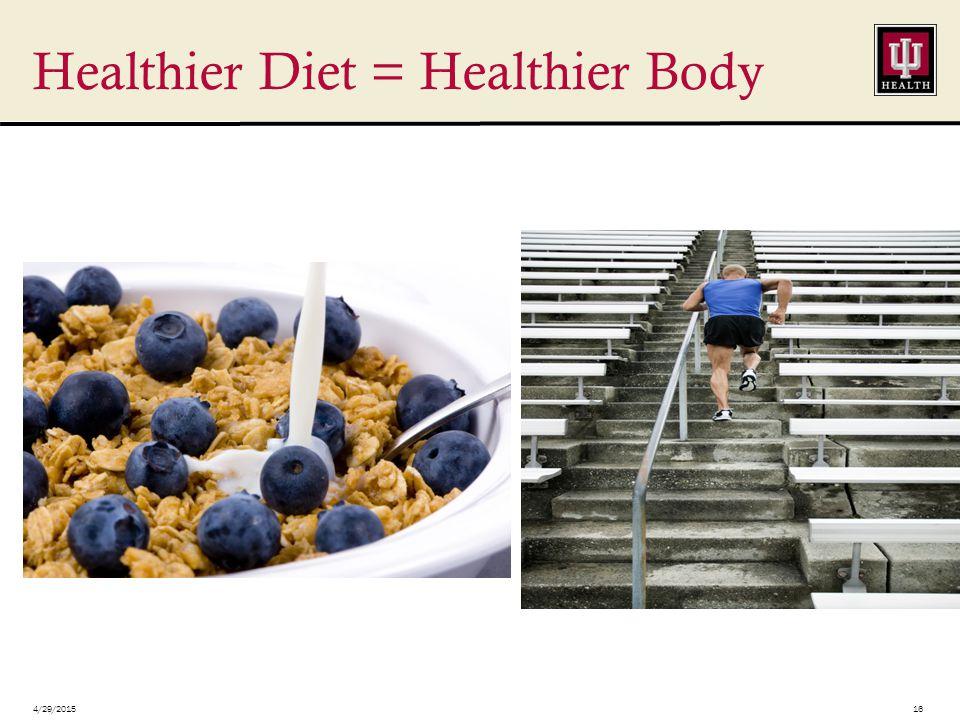 4/29/201516 Healthier Diet = Healthier Body