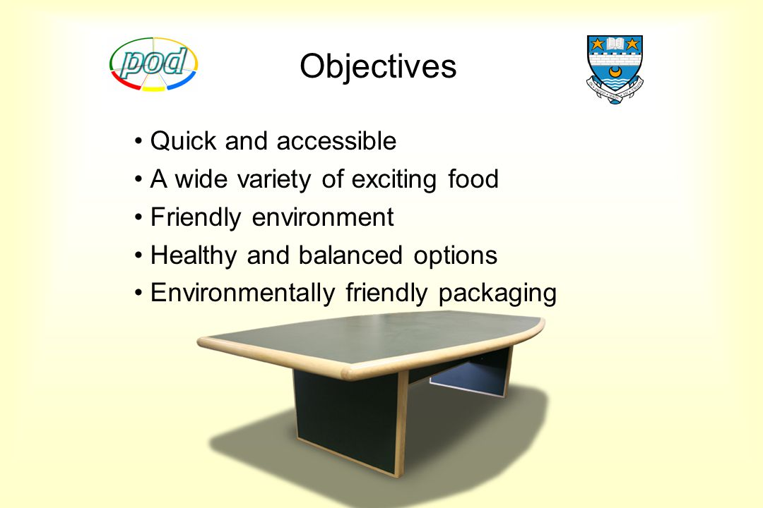 Objectives Quick and accessible A wide variety of exciting food Friendly environment Healthy and balanced options Environmentally friendly packaging