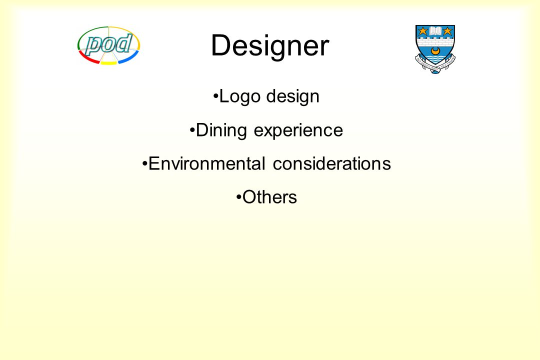 Designer Logo design Dining experience Environmental considerations Others
