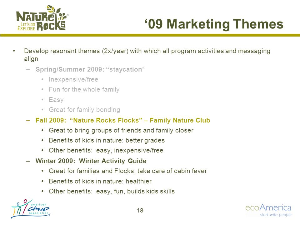 '09 Marketing Themes Develop resonant themes (2x/year) with which all program activities and messaging align –Spring/Summer 2009: staycation Inexpensive/free Fun for the whole family Easy Great for family bonding –Fall 2009: Nature Rocks Flocks – Family Nature Club Great to bring groups of friends and family closer Benefits of kids in nature: better grades Other benefits: easy, inexpensive/free –Winter 2009: Winter Activity Guide Great for families and Flocks, take care of cabin fever Benefits of kids in nature: healthier Other benefits: easy, fun, builds kids skills 18