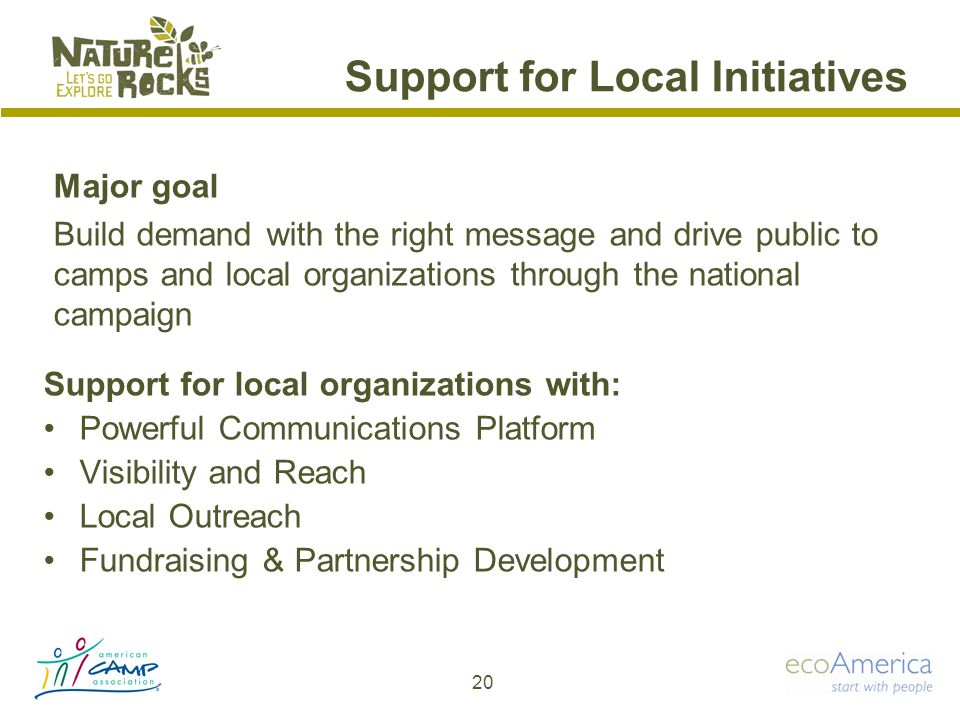 Support for Local Initiatives Support for local organizations with: Powerful Communications Platform Visibility and Reach Local Outreach Fundraising & Partnership Development 20 Major goal Build demand with the right message and drive public to camps and local organizations through the national campaign