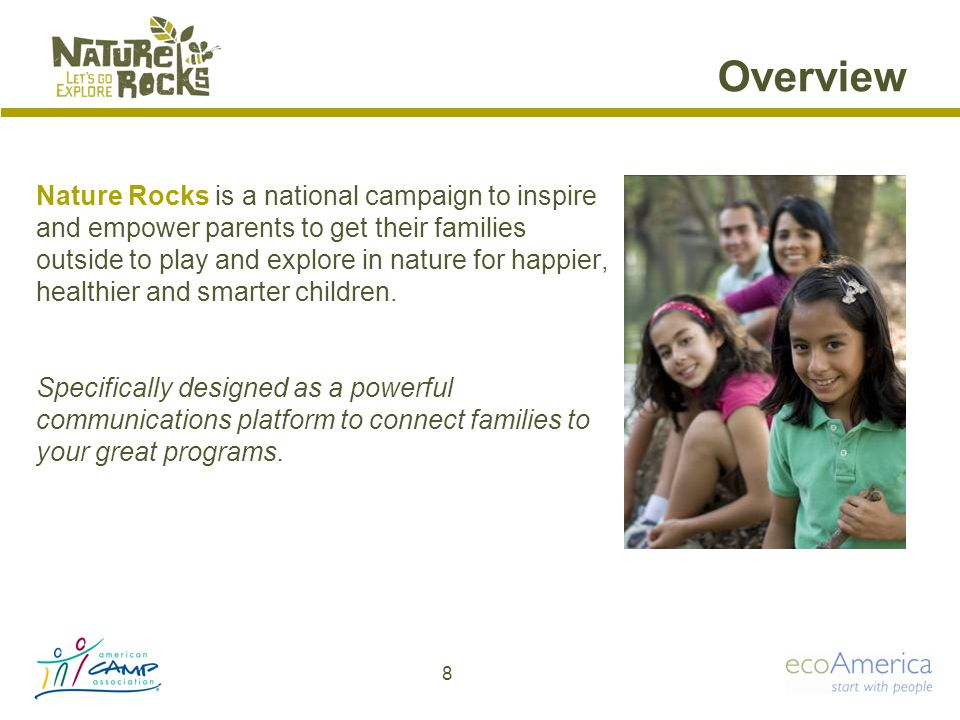 Overview Nature Rocks is a national campaign to inspire and empower parents to get their families outside to play and explore in nature for happier, healthier and smarter children.