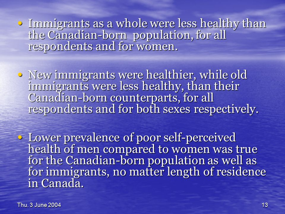 Thu. 3 June 200413 Immigrants as a whole were less healthy than the Canadian-born population, for all respondents and for women. Immigrants as a whole