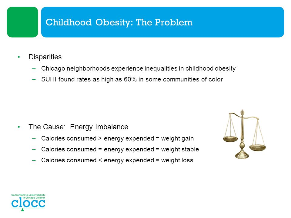 Childhood Obesity: The Problem Disparities –Chicago neighborhoods experience inequalities in childhood obesity –SUHI found rates as high as 60% in som