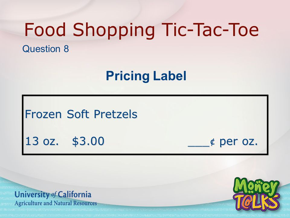 Food Shopping Tic-Tac-Toe Frozen Soft Pretzels 13 oz.