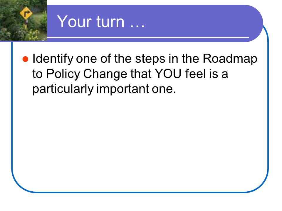 Your turn … Identify one of the steps in the Roadmap to Policy Change that YOU feel is a particularly important one.