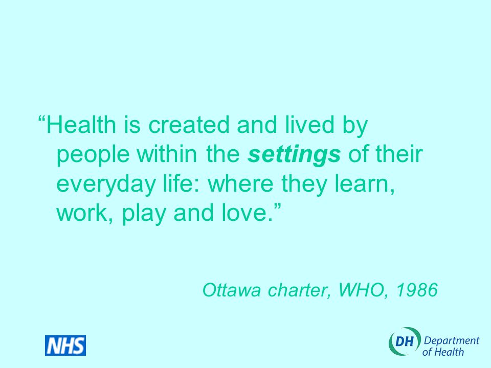 Health is created and lived by people within the settings of their everyday life: where they learn, work, play and love. Ottawa charter, WHO, 1986