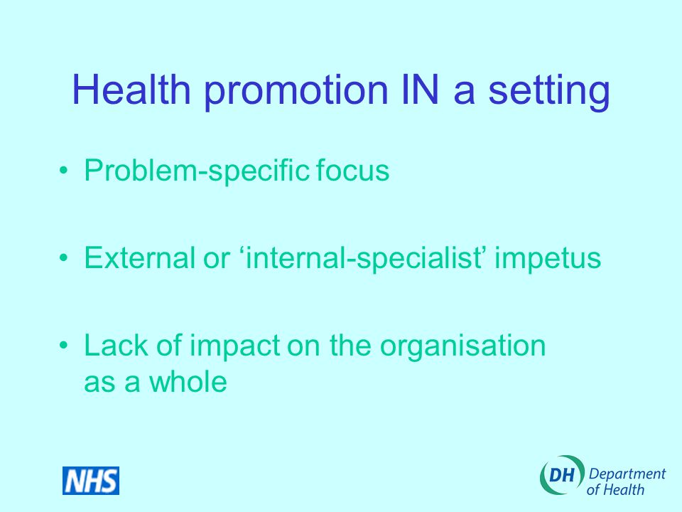 Health promotion IN a setting Problem-specific focus External or 'internal-specialist' impetus Lack of impact on the organisation as a whole