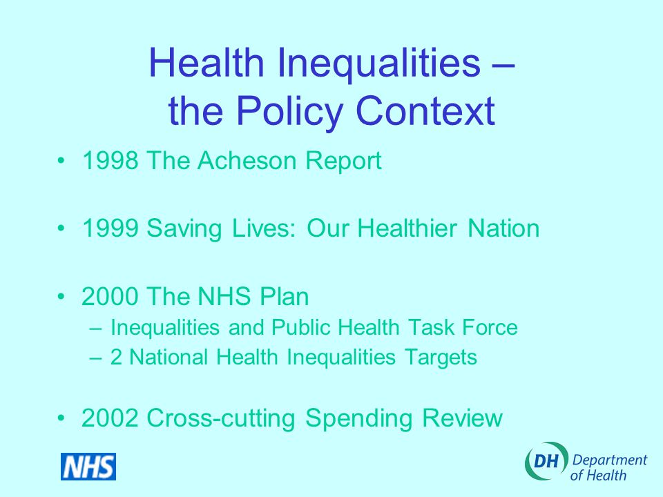 Health Inequalities – the Policy Context 1998 The Acheson Report 1999 Saving Lives: Our Healthier Nation 2000 The NHS Plan –Inequalities and Public Health Task Force –2 National Health Inequalities Targets 2002 Cross-cutting Spending Review