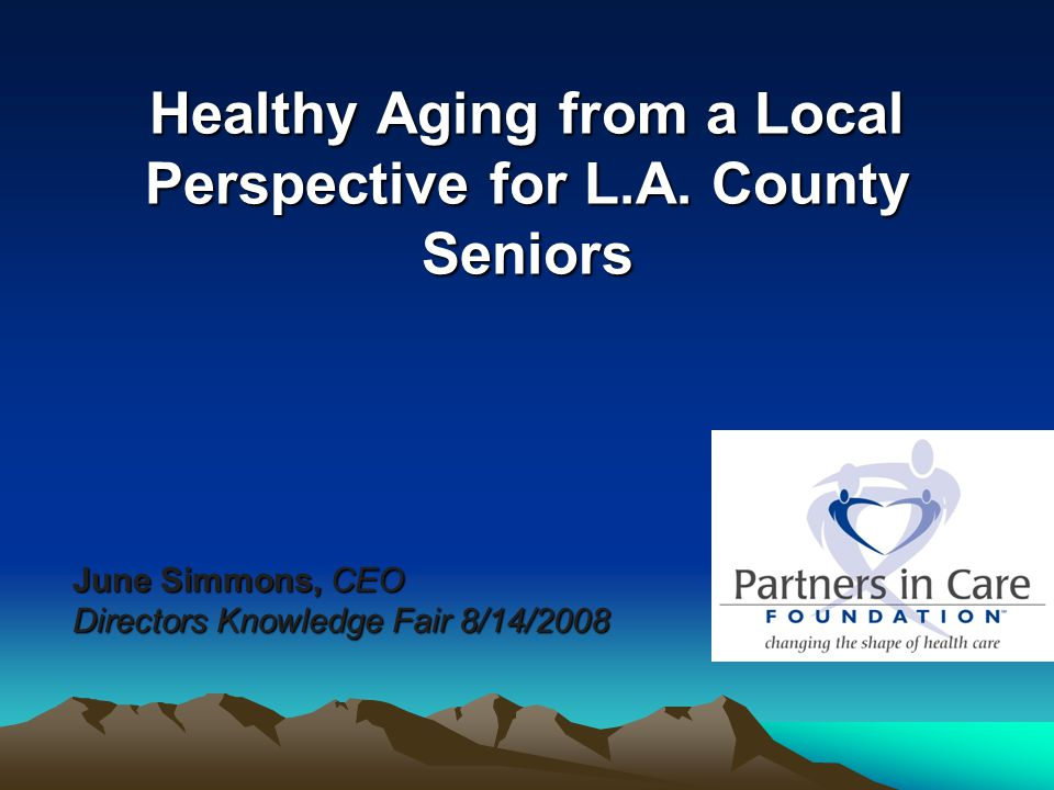 Healthy Aging from a Local Perspective for L.A. County Seniors June Simmons, CEO Directors Knowledge Fair 8/14/2008