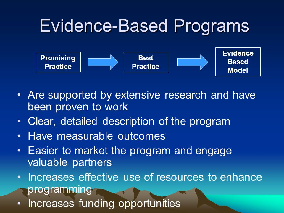 Evidence-Based Programs Are supported by extensive research and have been proven to work Clear, detailed description of the program Have measurable outcomes Easier to market the program and engage valuable partners Increases effective use of resources to enhance programming Increases funding opportunities Best Practice Promising Practice Evidence Based Model