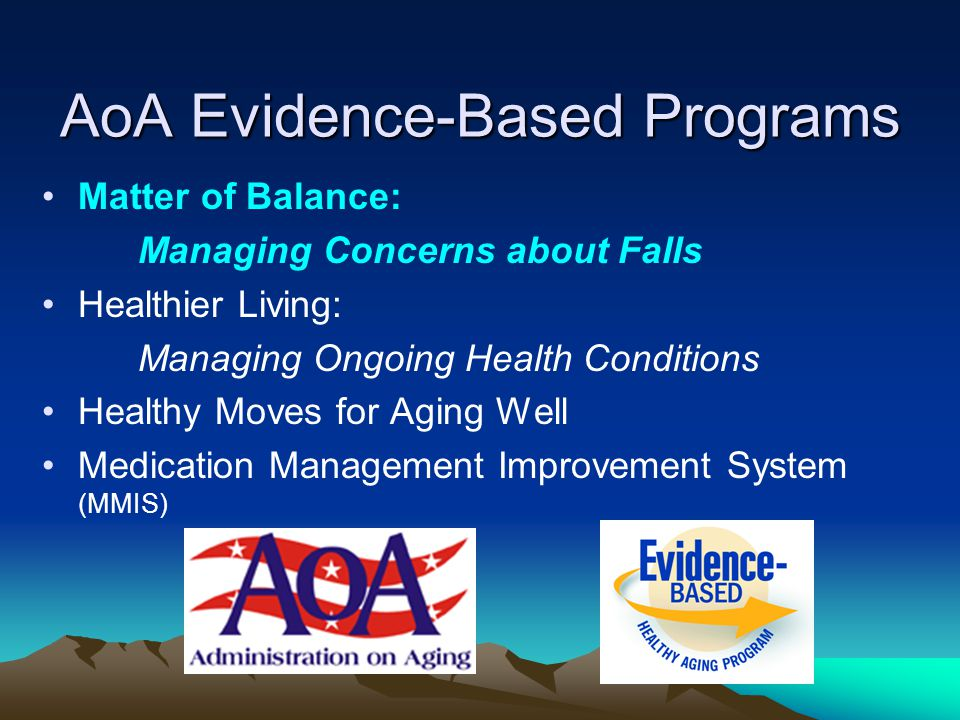 AoA Evidence-Based Programs Matter of Balance: Managing Concerns about Falls Healthier Living: Managing Ongoing Health Conditions Healthy Moves for Ag
