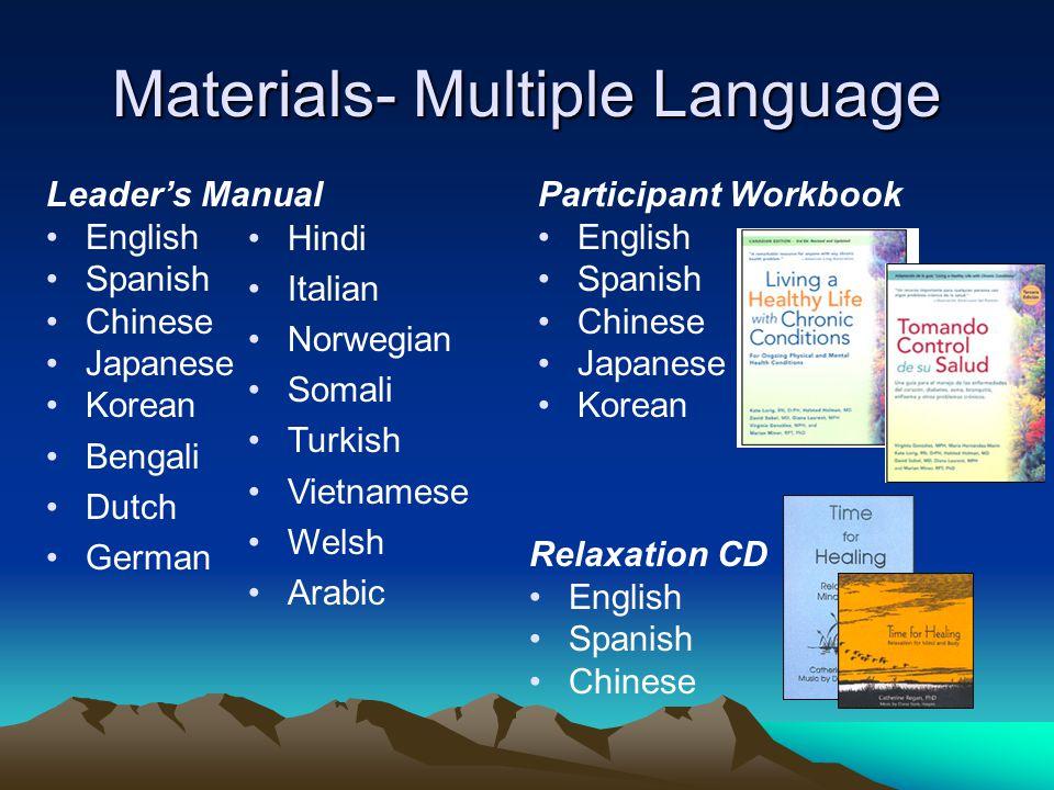 Materials- Multiple Language Participant Workbook English Spanish Chinese Japanese Korean Relaxation CD English Spanish Chinese Leader's Manual Englis