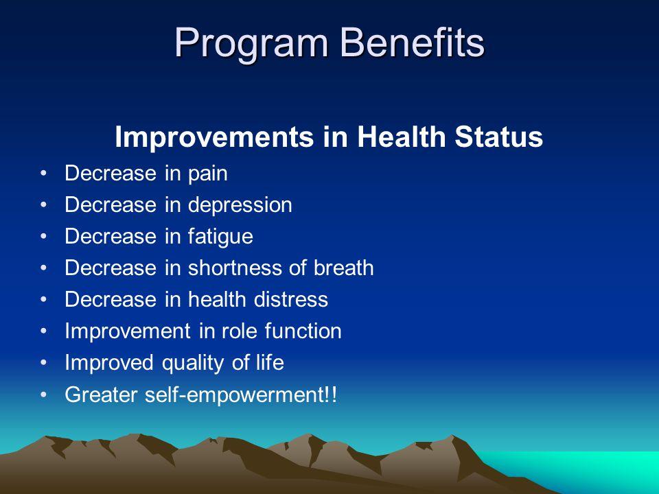 Program Benefits Improvements in Health Status Decrease in pain Decrease in depression Decrease in fatigue Decrease in shortness of breath Decrease in