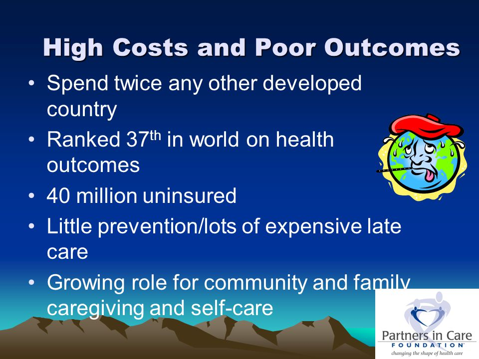 High Costs and Poor Outcomes Spend twice any other developed country Ranked 37 th in world on health outcomes 40 million uninsured Little prevention/lots of expensive late care Growing role for community and family caregiving and self-care