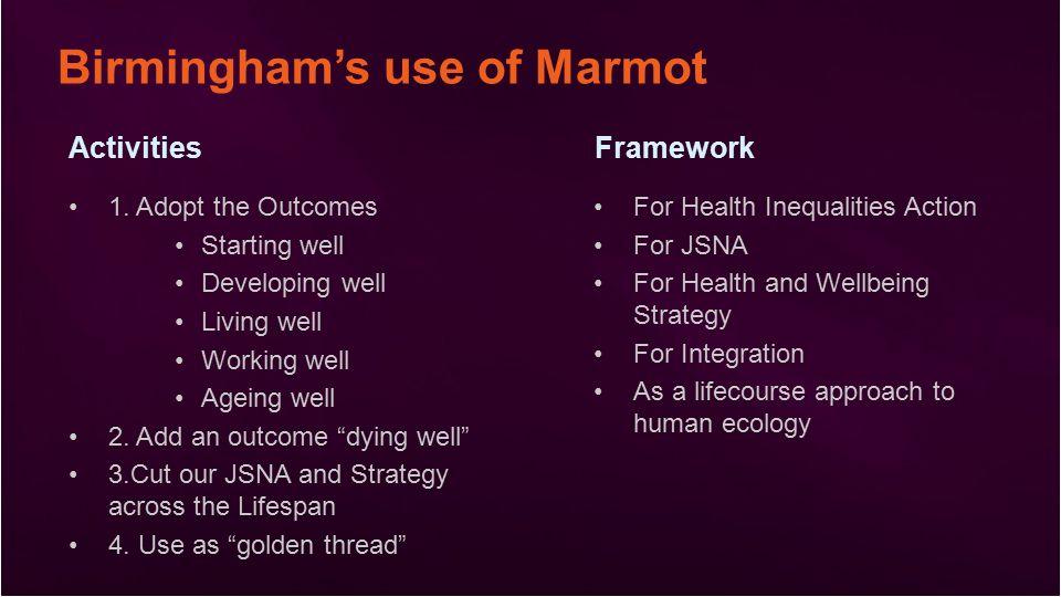 Birmingham's use of Marmot ActivitiesFramework 1.