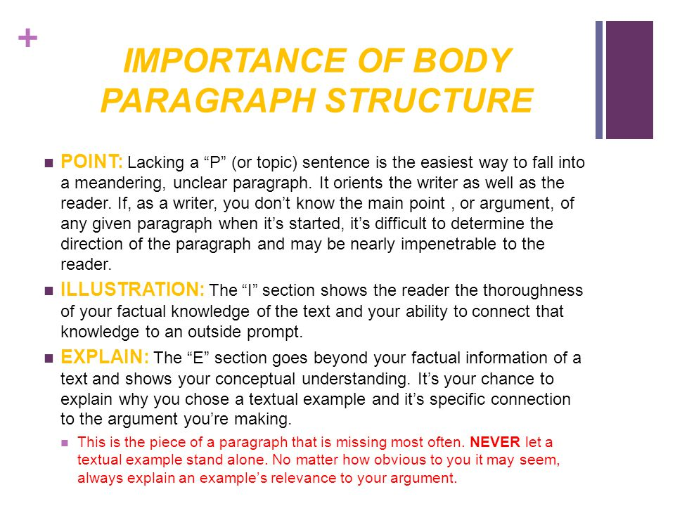 + IMPORTANCE OF BODY PARAGRAPH STRUCTURE POINT: Lacking a P (or topic) sentence is the easiest way to fall into a meandering, unclear paragraph.